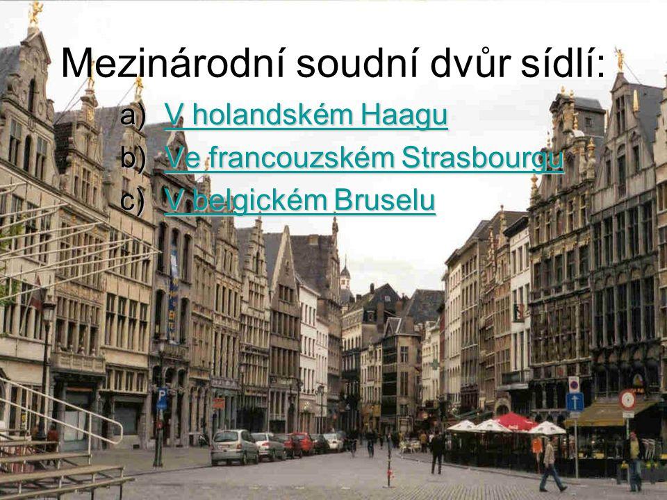 Mezinárodní soudní dvůr sídlí: a)V holandském Haagu V holandském HaaguV holandském Haagu b)Ve francouzském Strasbourgu Ve francouzském StrasbourguVe francouzském Strasbourgu c)V belgickém Bruselu V belgickém BruseluV belgickém Bruselu