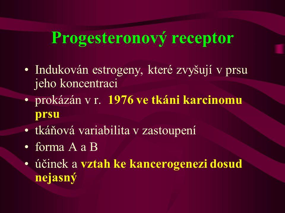 Progesteronový receptor •Indukován estrogeny, které zvyšují v prsu jeho koncentraci •prokázán v r. 1976 ve tkáni karcinomu prsu •tkáňová variabilita v