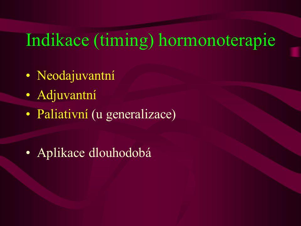 Indikace (timing) hormonoterapie •Neodajuvantní •Adjuvantní •Paliativní (u generalizace) •Aplikace dlouhodobá