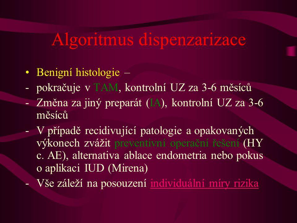 Algoritmus dispenzarizace •Benigní histologie – -pokračuje v TAM, kontrolní UZ za 3-6 měsíců -Změna za jiný preparát (IA), kontrolní UZ za 3-6 měsíců