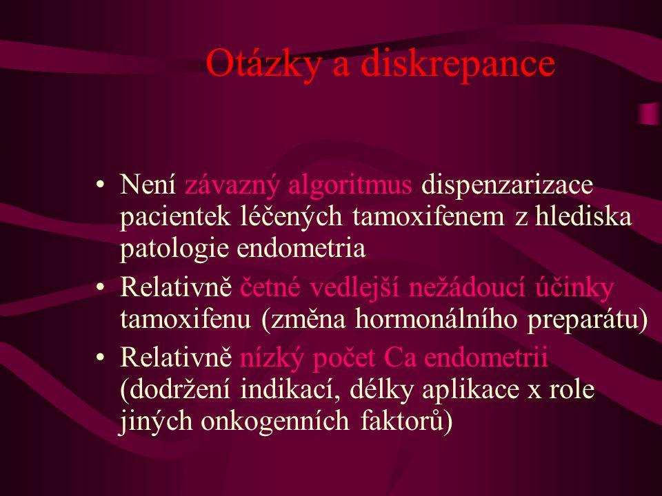 Otázky a diskrepance •Není závazný algoritmus dispenzarizace pacientek léčených tamoxifenem z hlediska patologie endometria •Relativně četné vedlejší