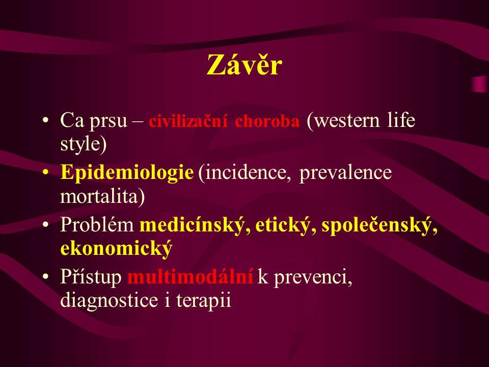 Závěr •Ca prsu – civilizační choroba (western life style) •Epidemiologie (incidence, prevalence mortalita) •Problém medicínský, etický, společenský, e