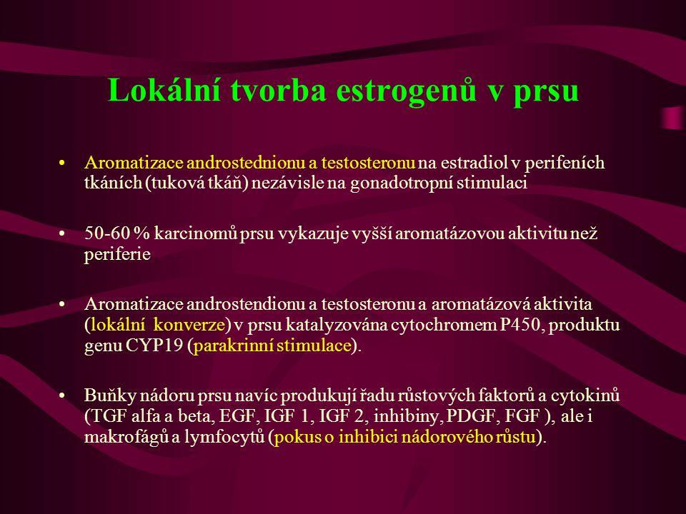 Lokální tvorba estrogenů v prsu •Aromatizace androstednionu a testosteronu na estradiol v perifeních tkáních (tuková tkáň) nezávisle na gonadotropní s