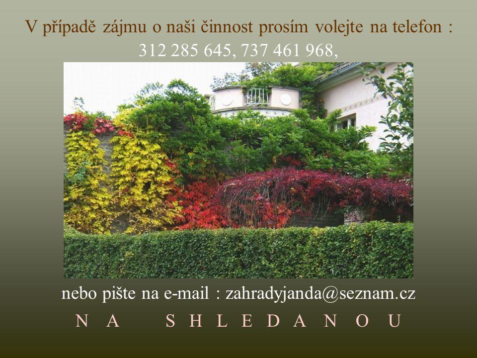 Každý projekt obsahuje kompletní seznam použitých rostlin též ve fotografiích