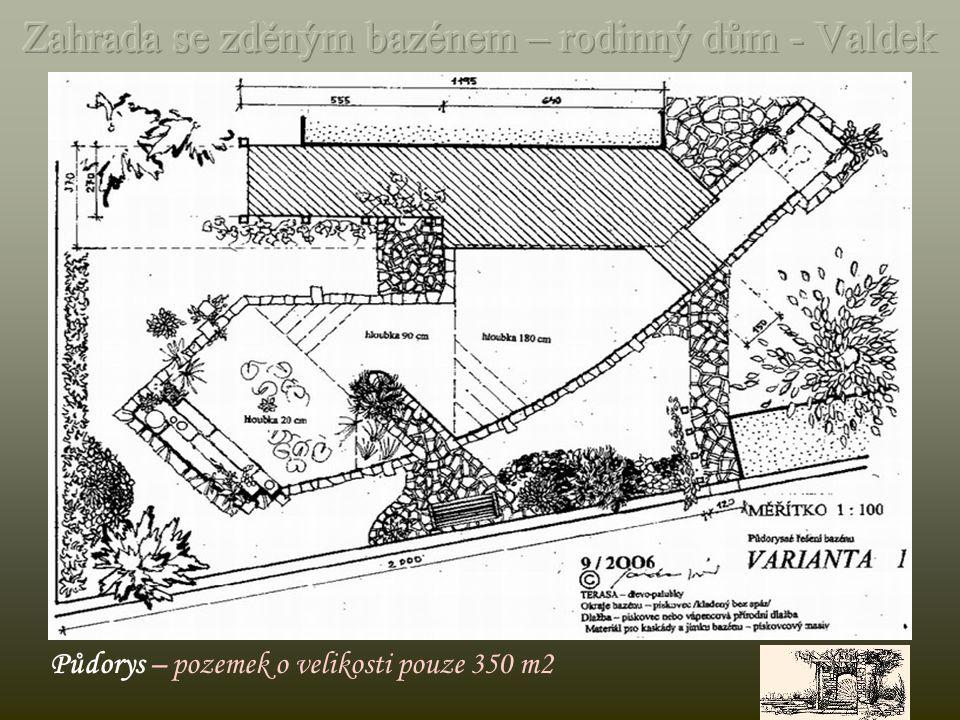 Půdorys pozemku o rozměru 800 m2