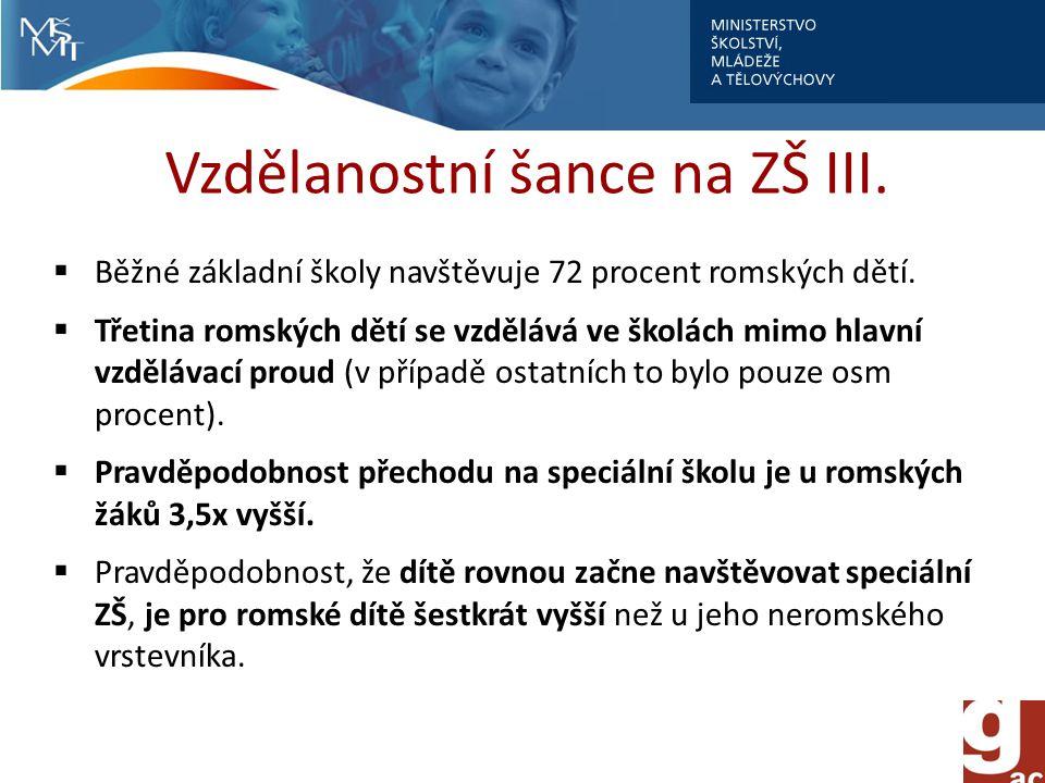 Vzdělanostní šance na ZŠ III. Běžné základní školy navštěvuje 72 procent romských dětí.