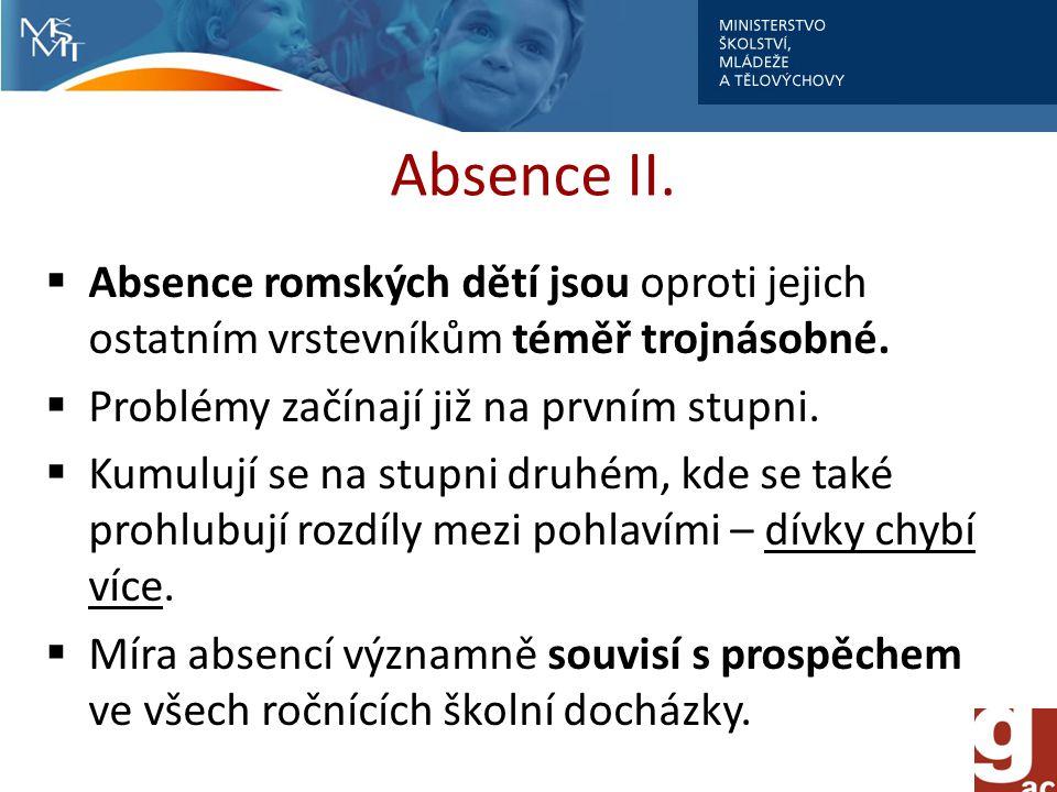 Absence II. Absence romských dětí jsou oproti jejich ostatním vrstevníkům téměř trojnásobné.