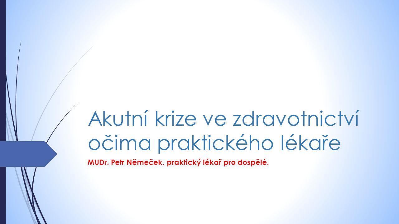 Akutní krize ve zdravotnictví očima praktického lékaře MUDr. Petr Němeček, praktický lékař pro dospělé.