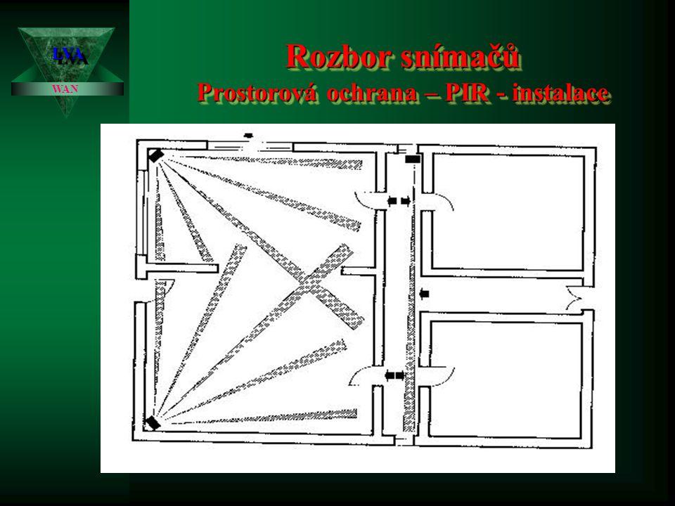 Rozbor snímačů Prostorová ochrana – PIR - instalace LVALVA WAN Zásady instalace PIR čidel Zásady instalace PIR čidel: • PIR čidla se mají instalovat tak, aby pravděpodobný směr pohybu narušitele byl kolmý na myšlený průměr aktivní či neaktivní zóny do půdorysu střeženého objektu • Instalace na pevném podkladu bez vibrací, odpovídající držáky • není problém více PIR čidel v prostoru – navzájem se neovlivňují, někdy vhodné vzájemné překrytí aktivních zón.