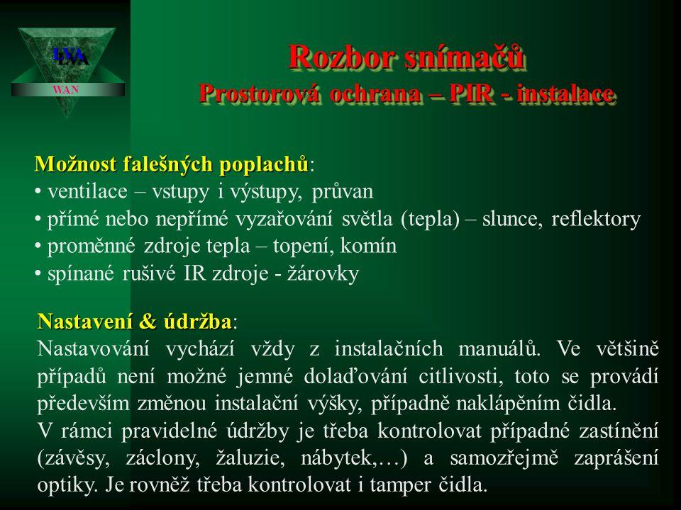 Rozbor snímačů Prostorová ochrana – PIR - instalace LVALVA WAN