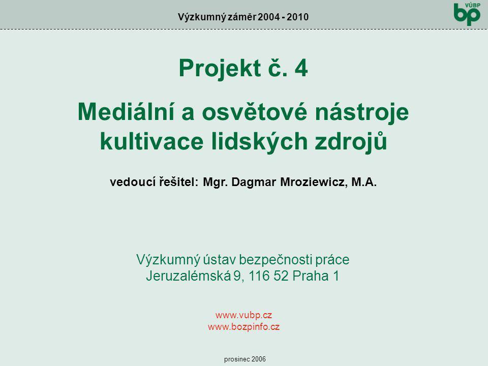 Výzkumný záměr 2004 - 2010 prosinec 2006 Projekt č. 4 Mediální a osvětové nástroje kultivace lidských zdrojů vedoucí řešitel: Mgr. Dagmar Mroziewicz,