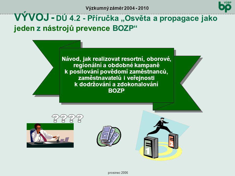 """Výzkumný záměr 2004 - 2010 prosinec 2006 VÝVOJ - DÚ 4.2 - Příručka """"Osvěta a propagace jako jeden z nástrojů prevence BOZP"""" Návod, jak realizovat reso"""