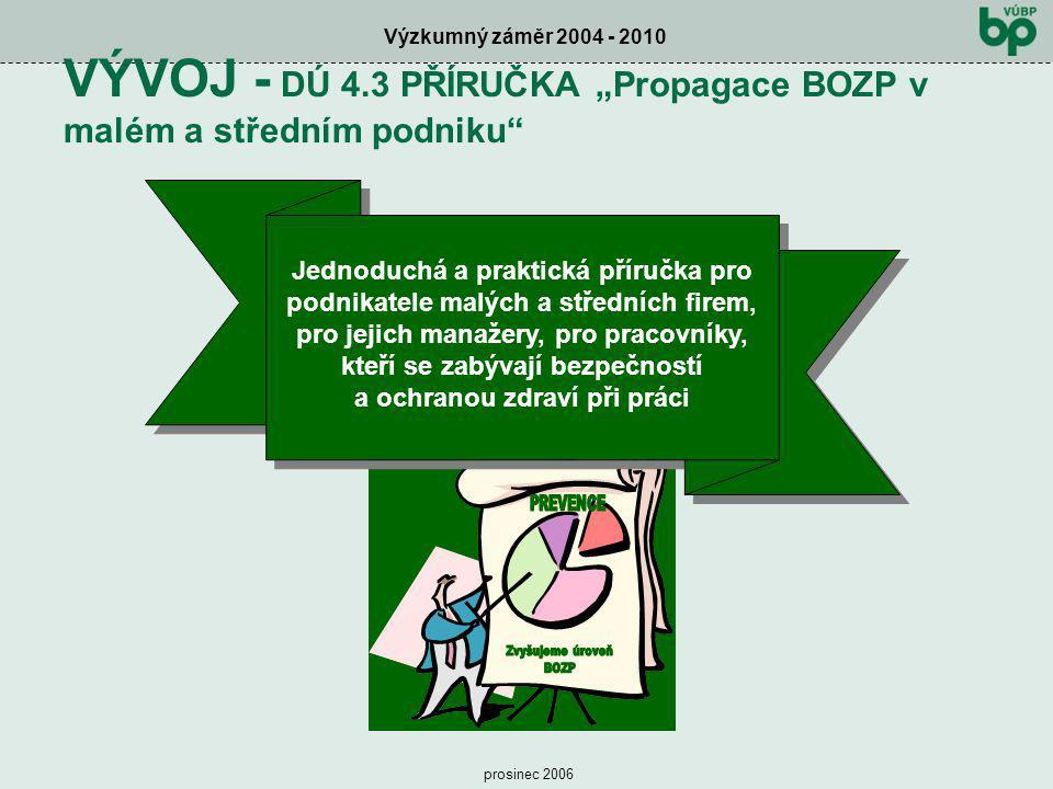 """Výzkumný záměr 2004 - 2010 prosinec 2006 VÝVOJ - DÚ 4.3 PŘÍRUČKA """"Propagace BOZP v malém a středním podniku"""" Jednoduchá a praktická příručka pro podni"""