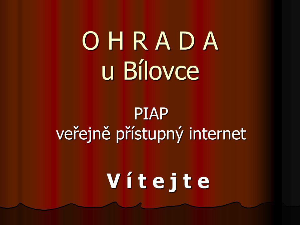 Co je to PIAP:  public internet access point  místo s veřejně přístupným internetem  zdarma – 9 lokalit  (Bílovec, Výškovice, Ohrada, Stará Ves, Lubojaty, Slatina, Těškovice, Tísek, Bítov)