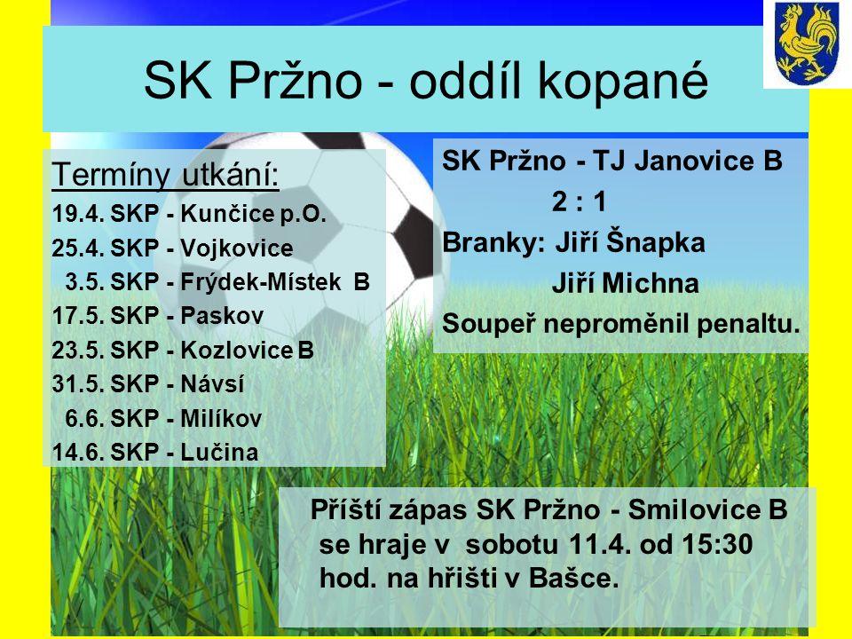 SK Pržno - oddíl kopané Termíny utkání: 19.4. SKP - Kunčice p.O.