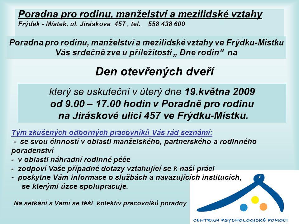 Poradna pro rodinu, manželství a mezilidské vztahy Frýdek - Místek, ul.