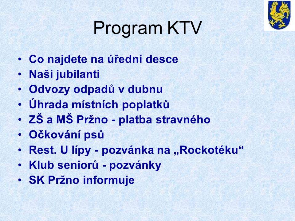 Program KTV •Co najdete na úřední desce •Naši jubilanti •Odvozy odpadů v dubnu •Úhrada místních poplatků •ZŠ a MŠ Pržno - platba stravného •Očkování psů •Rest.