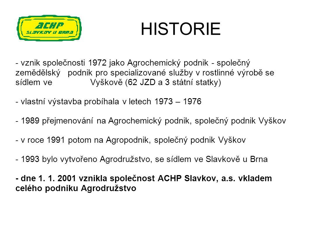 HISTORIE - vznik společnosti 1972 jako Agrochemický podnik - společný zemědělský podnik pro specializované služby v rostlinné výrobě se sídlem ve Vyšk