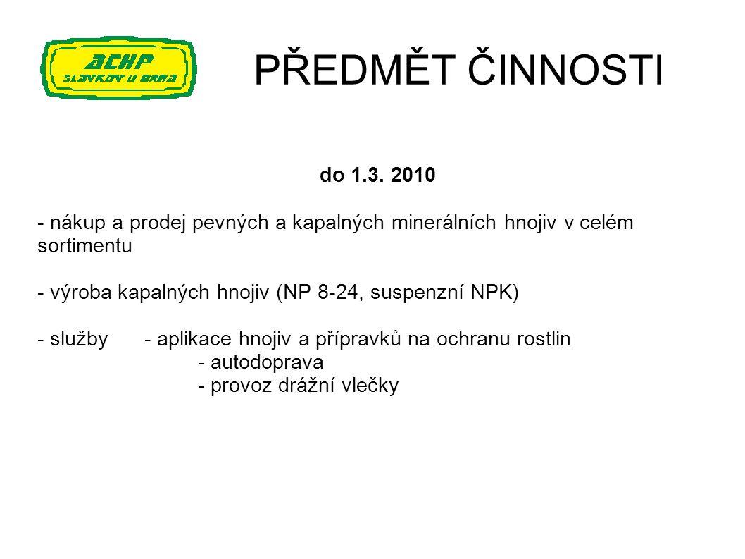 PŘEDMĚT ČINNOSTI do 1.3. 2010 - nákup a prodej pevných a kapalných minerálních hnojiv v celém sortimentu - výroba kapalných hnojiv (NP 8-24, suspenzní