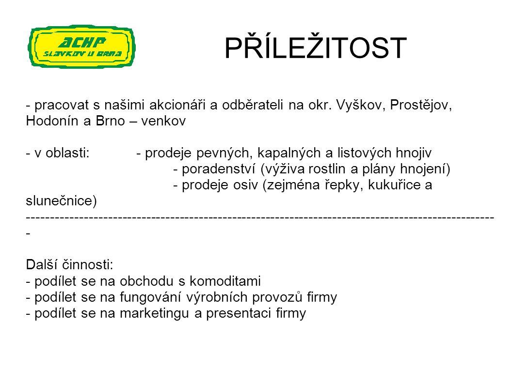 PŘÍLEŽITOST - pracovat s našimi akcionáři a odběrateli na okr. Vyškov, Prostějov, Hodonín a Brno – venkov - v oblasti:- prodeje pevných, kapalných a l