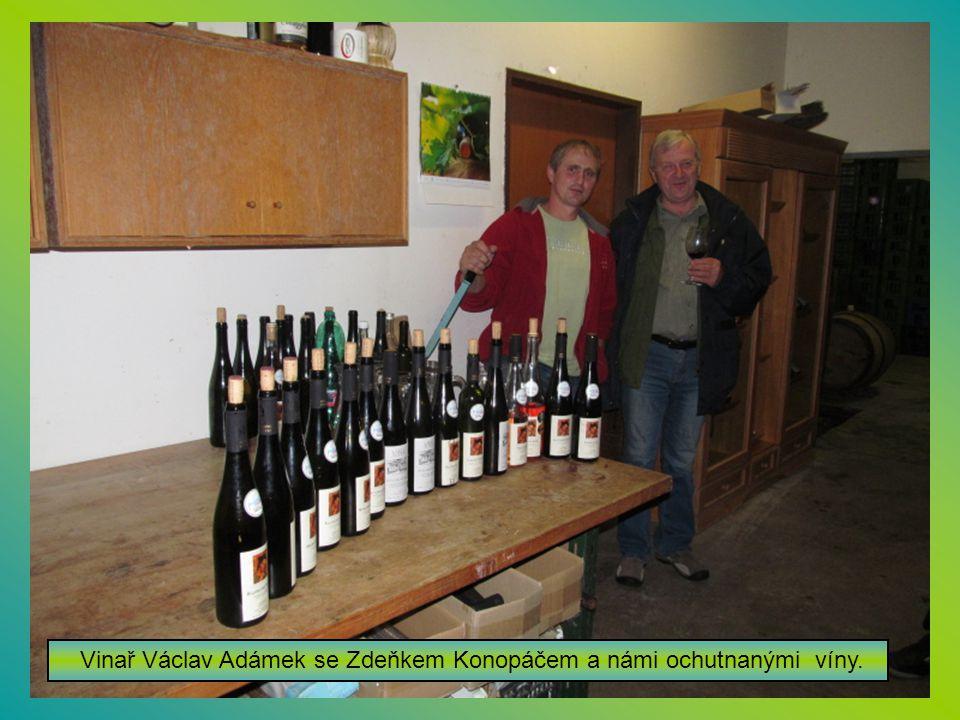 Vinař Václav Adámek se Zdeňkem Konopáčem a námi ochutnanými víny.