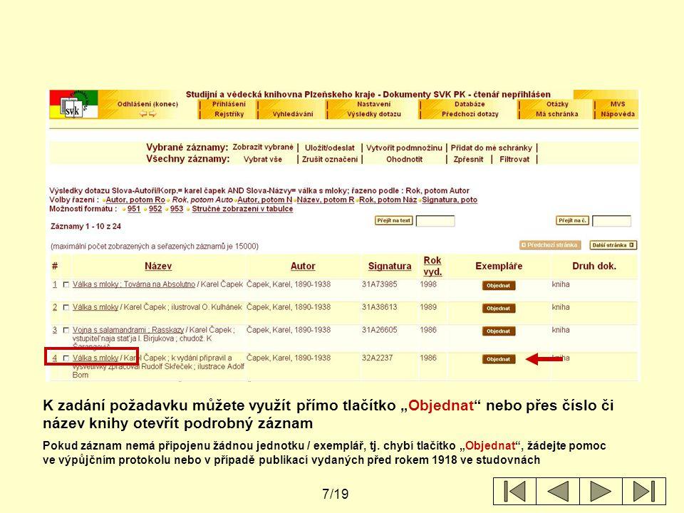 """8/19 K zadání požadavku klikněte na tlačítko """"Objednat"""