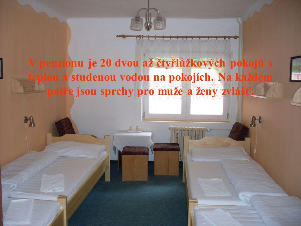 V penzionu je 20 dvou až čtyřlůžkových pokojů s teplou a studenou vodou na pokojích. Na každém patře jsou sprchy pro muže a ženy zvlášť.