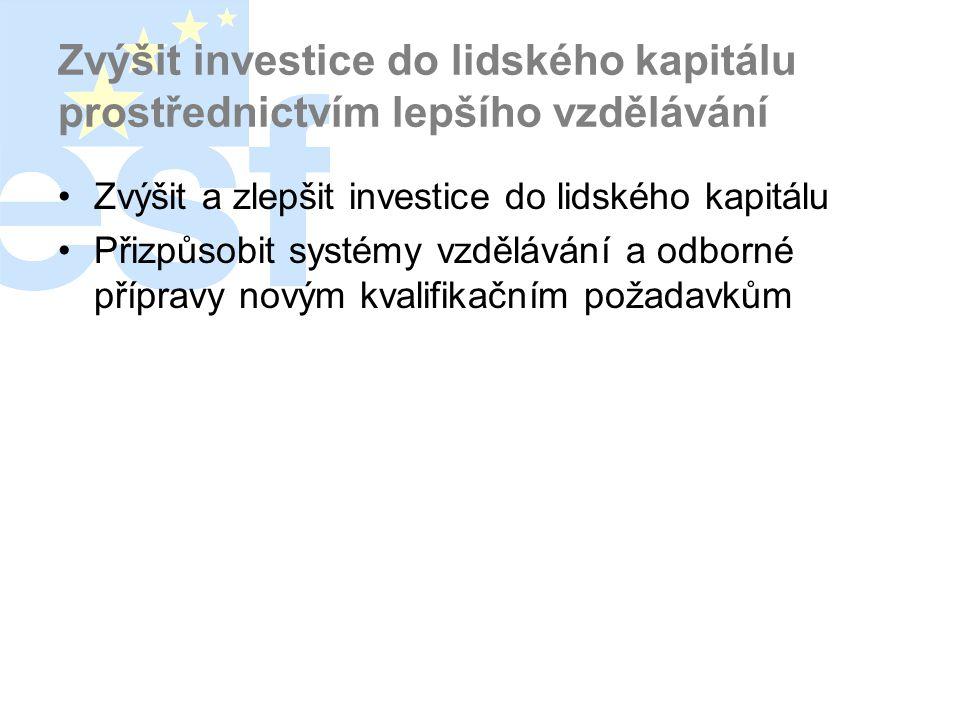 Zvýšit investice do lidského kapitálu prostřednictvím lepšího vzdělávání •Zvýšit a zlepšit investice do lidského kapitálu •Přizpůsobit systémy vzděláv