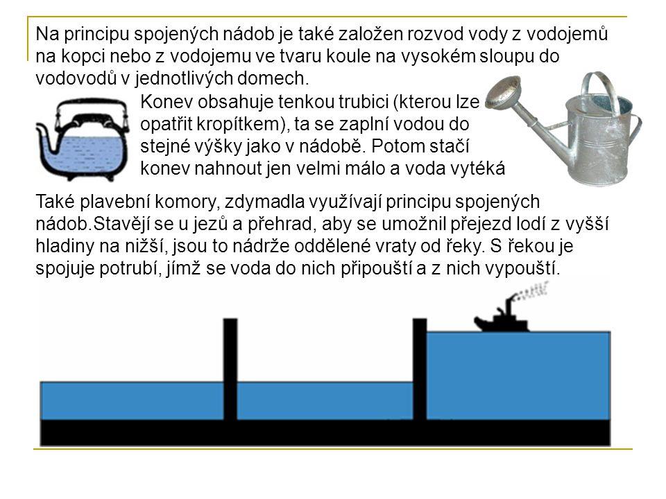 Na principu spojených nádob je také založen rozvod vody z vodojemů na kopci nebo z vodojemu ve tvaru koule na vysokém sloupu do vodovodů v jednotlivýc