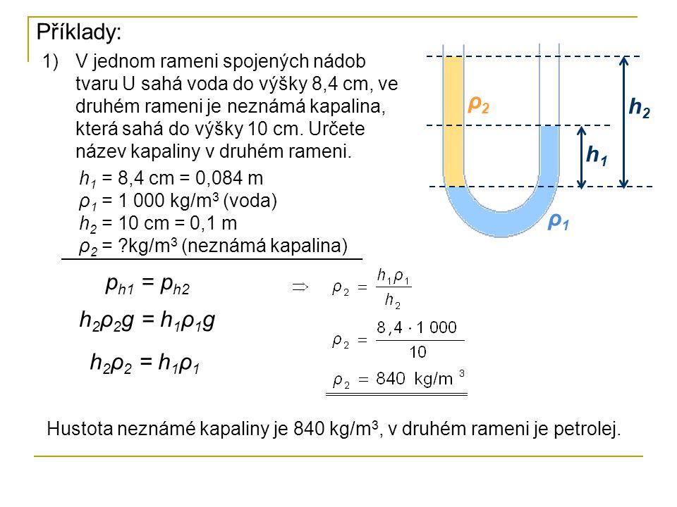 Příklady: 1)V jednom rameni spojených nádob tvaru U sahá voda do výšky 8,4 cm, ve druhém rameni je neznámá kapalina, která sahá do výšky 10 cm. Určete