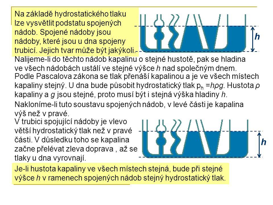 Na základě hydrostatického tlaku lze vysvětlit podstatu spojených nádob. Spojené nádoby jsou nádoby, které jsou u dna spojeny trubicí. Jejich tvar můž