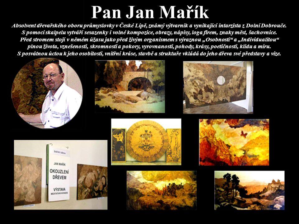 Pan Václav Hejnák Výtvarník, kreslíř, malíř, portrétista a restaurátor z Výprachtic, který se věnuje zejména technice podmalby na sklo s uplatňováním zrcadlového obrazu a obráceného postupu techniky malby.