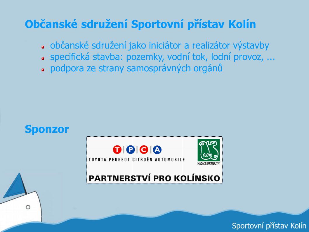 Občanské sdružení Sportovní přístav Kolín občanské sdružení jako iniciátor a realizátor výstavby specifická stavba: pozemky, vodní tok, lodní provoz,.