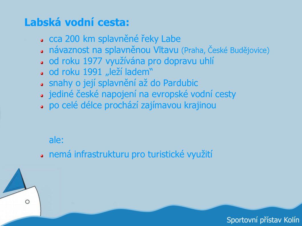 Labská vodní cesta: cca 200 km splavněné řeky Labe návaznost na splavněnou Vltavu (Praha, České Budějovice) od roku 1977 využívána pro dopravu uhlí od