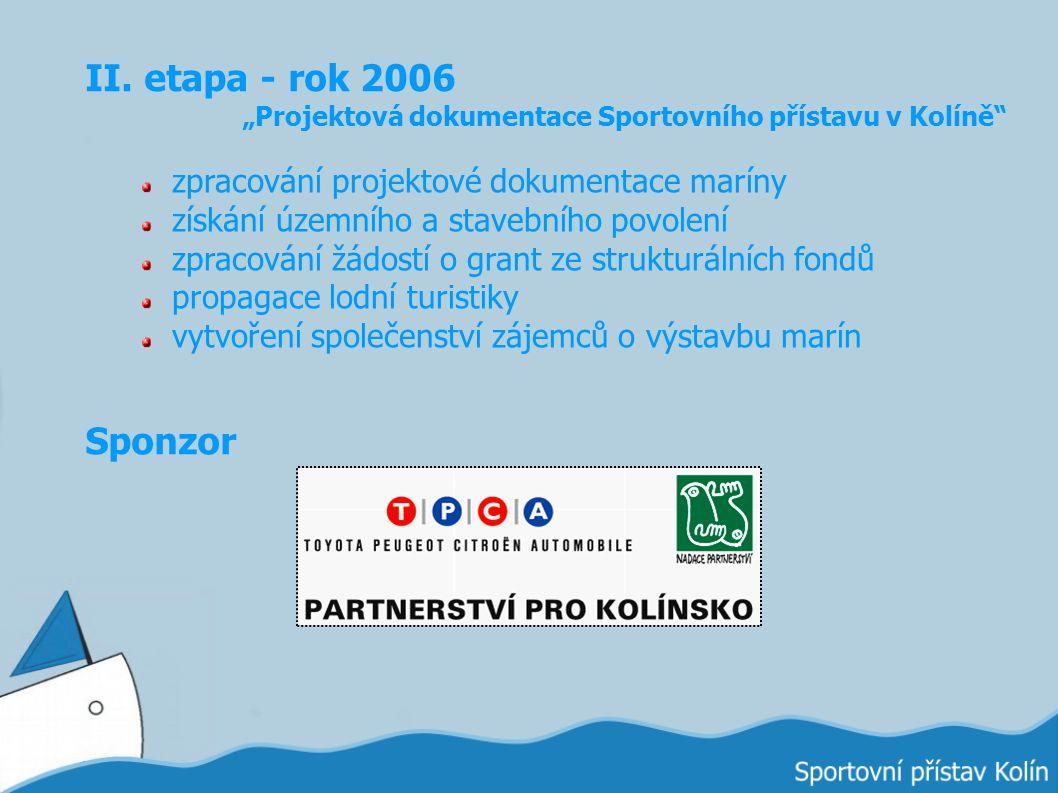 """II. etapa - rok 2006 """"Projektová dokumentace Sportovního přístavu v Kolíně"""" zpracování projektové dokumentace maríny získání územního a stavebního pov"""