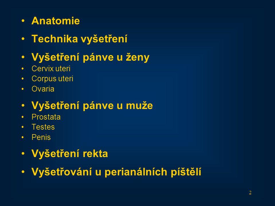 2 •Anatomie •Technika vyšetření •Vyšetření pánve u ženy •Cervix uteri •Corpus uteri •Ovaria •Vyšetření pánve u muže •Prostata •Testes •Penis •Vyšetřen