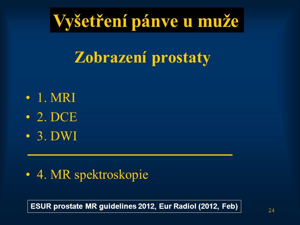 24 Zobrazení prostaty •1. MRI •2. DCE •3. DWI •4. MR spektroskopie Vyšetření pánve u muže ESUR prostate MR guidelines 2012, Eur Radiol (2012, Feb)