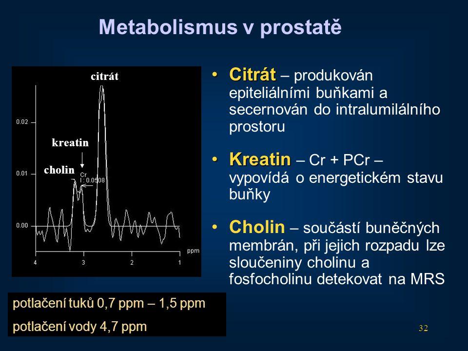 32 •Citrát •Citrát – produkován epiteliálními buňkami a secernován do intralumilálního prostoru •Kreatin •Kreatin – Cr + PCr – vypovídá o energetickém