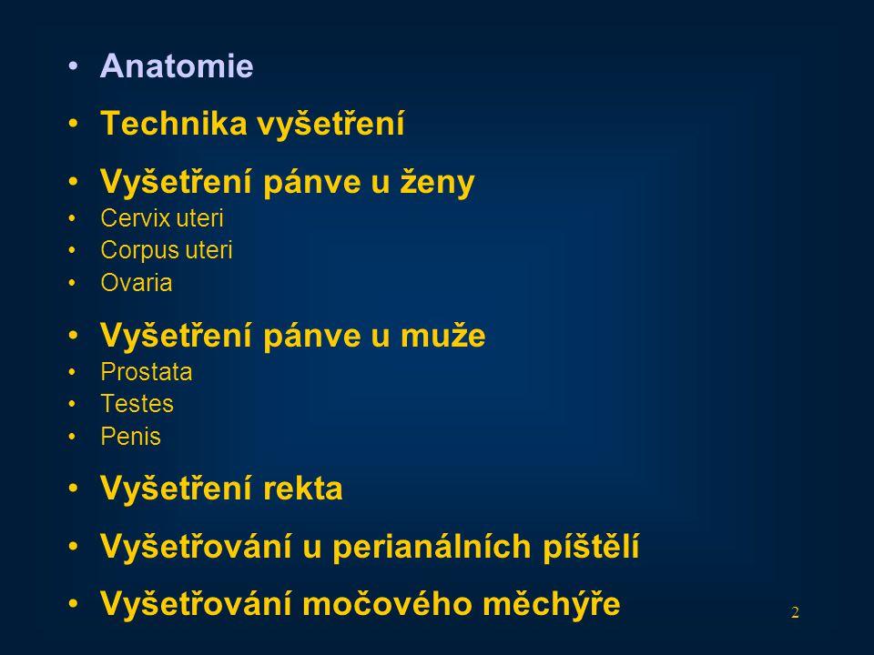 13 •Anatomie •Technika vyšetření •Vyšetření pánve u ženy •Cervix uteri •Corpus uteri •Ovaria •Vyšetření pánve u muže •Prostata •Testes •Penis •Vyšetření rekta •Vyšetřování u perianálních píštělí •Vyšetřování močového měchýře