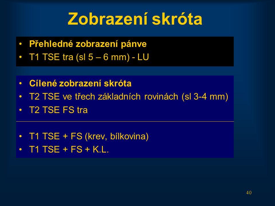40 Zobrazení skróta •Přehledné zobrazení pánve •T1 TSE tra (sl 5 – 6 mm) - LU •Cílené zobrazení skróta •T2 TSE ve třech základních rovinách (sl 3-4 mm