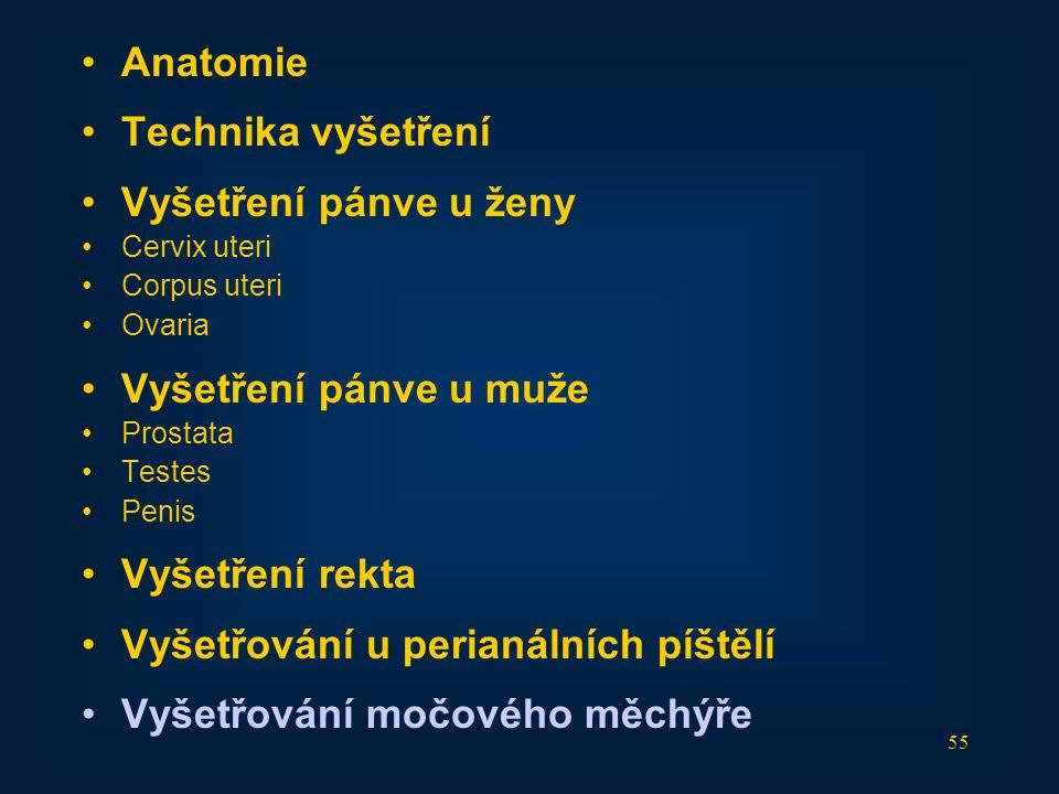 55 •Anatomie •Technika vyšetření •Vyšetření pánve u ženy •Cervix uteri •Corpus uteri •Ovaria •Vyšetření pánve u muže •Prostata •Testes •Penis •Vyšetře