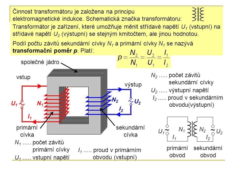 vstup výstup U1U1 U2U2 I1I1 I2I2 U 1..... vstupní napětí U 2..... výstupní napětí I 1..... proud v primárním obvodu (vstupní) I 2..... proud v sekundá
