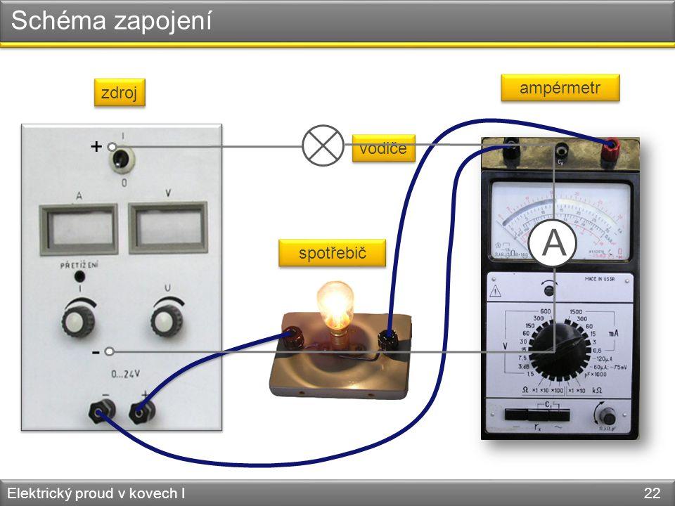 Schéma zapojení Elektrický proud v kovech I 22 zdroj spotřebič ampérmetr vodiče + - A