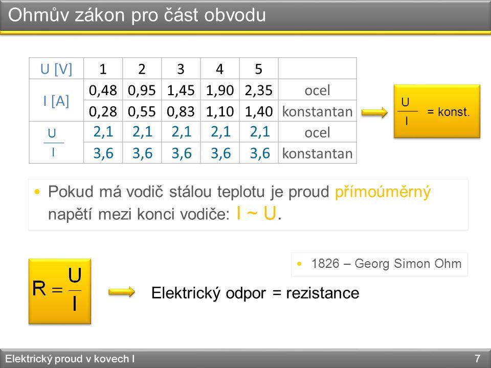 Ohmův zákon pro část obvodu Elektrický proud v kovech I 7 U [V]12345 I [A] 0,480,951,451,902,35ocel 0,280,550,831,101,40konstantan ocel konstantan U I 2,1 3,6  Pokud má vodič stálou teplotu je proud přímoúměrný napětí mezi konci vodiče: I ~ U.