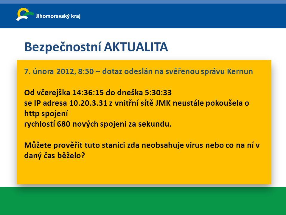 Bezpečnostní AKTUALITA 7. února 2012, 8:50 – dotaz odeslán na svěřenou správu Kernun Od včerejška 14:36:15 do dneška 5:30:33 se IP adresa 10.20.3.31 z