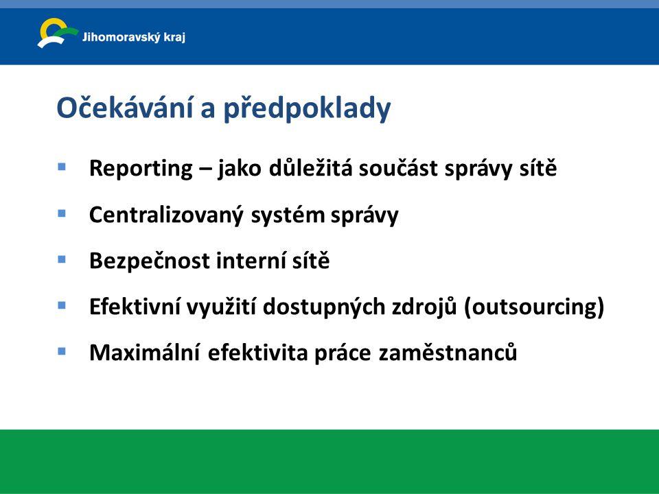 Očekávání a předpoklady  Reporting – jako důležitá součást správy sítě  Centralizovaný systém správy  Bezpečnost interní sítě  Efektivní využití d
