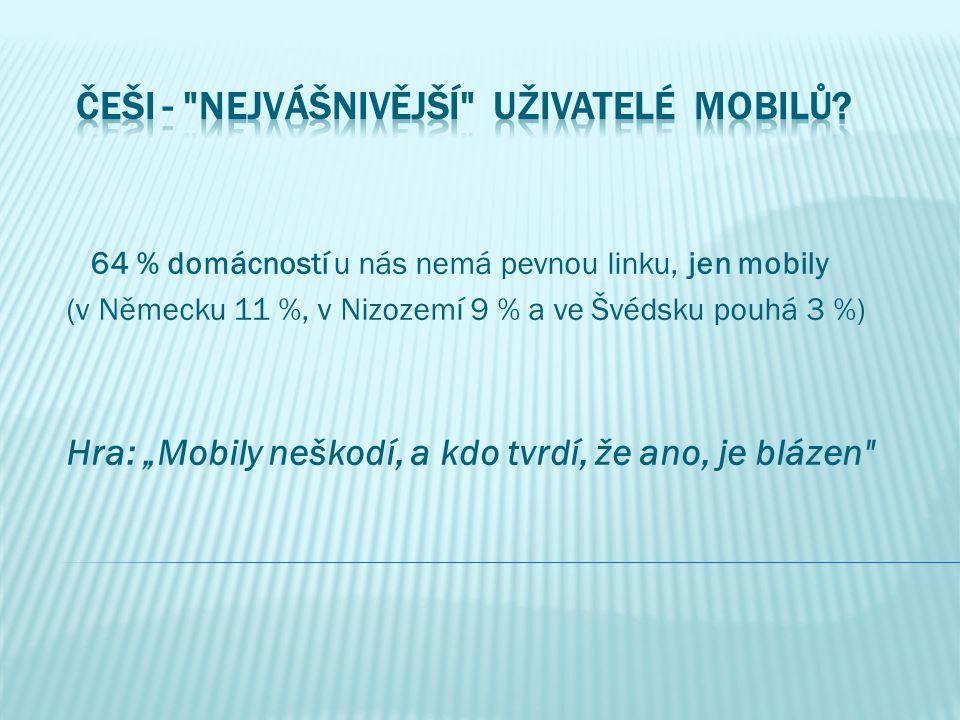 """64 % domácností u nás nemá pevnou linku, jen mobily (v Německu 11 %, v Nizozemí 9 % a ve Švédsku pouhá 3 %) Hra: """"Mobily neškodí, a kdo tvrdí, že ano,"""