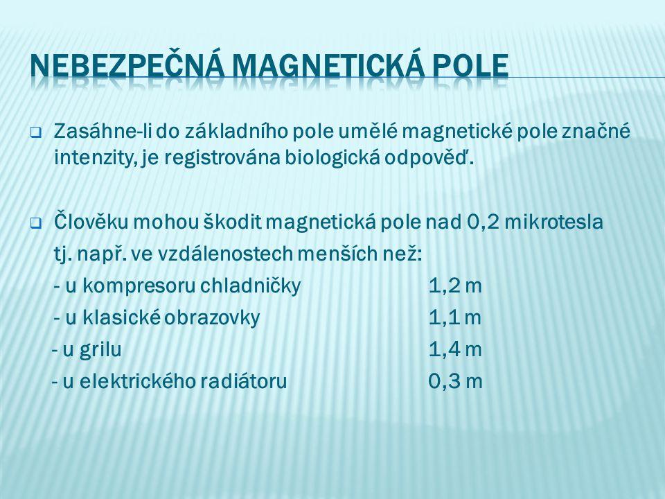  Zasáhne-li do základního pole umělé magnetické pole značné intenzity, je registrována biologická odpověď.  Člověku mohou škodit magnetická pole nad