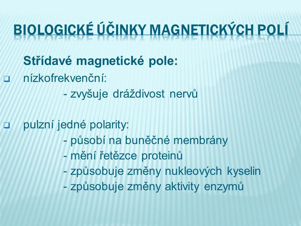 Střídavé magnetické pole:  nízkofrekvenční: - zvyšuje dráždivost nervů  pulzní jedné polarity: - působí na buněčné membrány - mění řetězce proteinů