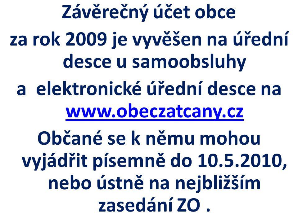 Závěrečný účet obce za rok 2009 je vyvěšen na úřední desce u samoobsluhy a elektronické úřední desce na www.obeczatcany.cz www.obeczatcany.cz Občané se k němu mohou vyjádřit písemně do 10.5.2010, nebo ústně na nejbližším zasedání ZO.